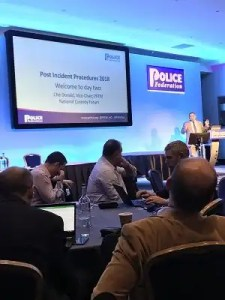 Photo of Che Donald, Vice-Chair of the Police Federation of England and Wales, presenting at the Post-Incident Procedures conference in October 2018.