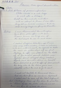 Hand-written testimonial from a Donoghue Solicitors client in an Actions Against the Police claim.
