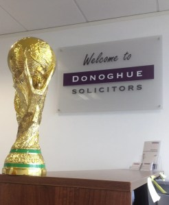 """Picture of the 5-a-side """"World Cup"""" winners trophy at Donoghue Solicitors' offices."""