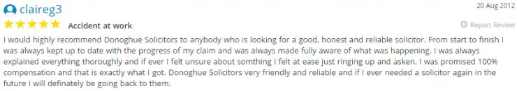 Yell.co.uk testimonial for Liverpool's Donoghue Solicitors by Claire Reg 3.