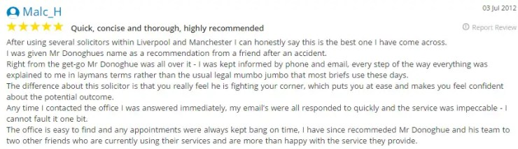 Detailed Yell.co.uk testimonials for Donoghue Solicitors by Malc H.