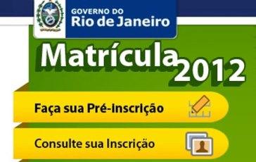 Matrícula Rio de Janeiro Rio de Janeiro - Matrículas 2012