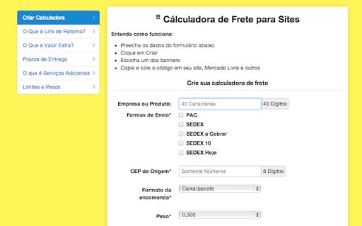 Captura de Tela 2013 03 08 às 15.27.31 Calculadora de Frete para sites