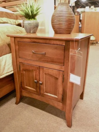 Metro 1-Drawer / 2-Door Nightstand Wood Species Shown: Brown Maple Fully Customizable. Please contact us for pricing details.
