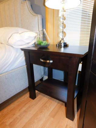 """Providence 1-Drawer Nightstand with Shelf Wood Species Shown: Brown Maple Dimensions: 25.75""""W x 18.75""""D x 25.75""""H Price As Shown*: $630 Fully Customizable. *Price of piece not inclusive of current sales. Please see our Pricing page for more details."""