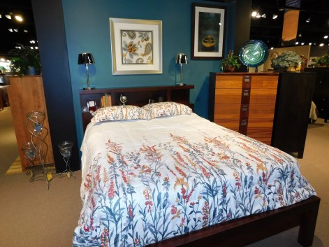 Marquette Bedroom Wood Species Shown: Brown Maple / Ribbon Sapele Fully Customizable.