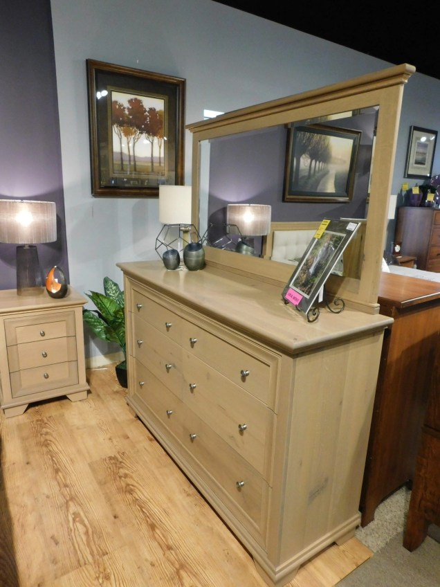 """Pacific Heights Double Mule Dresser and Landscape Mirror Wood Species Shown: Rustic Quartersawn White Oak Dimensions: 62""""W x 20""""D x 40.75""""H and 59""""W x 33.5""""H Fully Customizable. Please contact us for pricing details."""