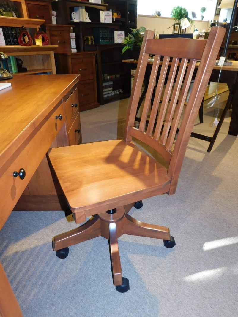 Logan Side Desk Chair with Gas Lift Base and Wood Seat Wood Species Shown: Brown Maple Partially Customizable. Please contact us for pricing details.