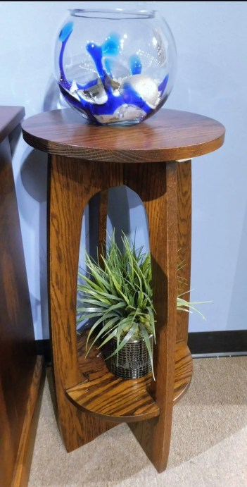 """Round Plant Stand with Shelf Wood Species Shown: Oak Dimensions: 30""""H Fully Customizable. Please contact us for pricing details."""
