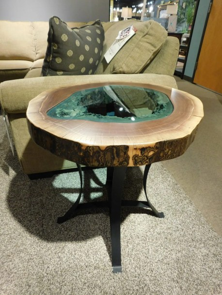 Round Lake End Table with Teal Glass Inlay and Metal Base One of a Kind. Please contact us for pricing details.