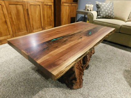 Live Edge Coffee Table with Stump Base and Stone Inlay with Clear Fill Wood Species Shown: Rustic Walnut (top), Salvaged Redwood Stump (base) Dimensions: Price As Shown*: $2,250 Fully Customizable. *Price of piece not inclusive of current sales. Please see our Pricing page for more details.