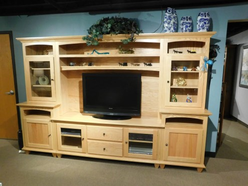 "Loft Mountain Tapered Leg Wall Unit Wood Species Shown: Oak Dimensions: 117.25""W x 20""D x 77.5""H Price As Shown*: $4,485 Fully Customizable. *Price of piece not inclusive of current sales. Please see our Pricing page for more details."
