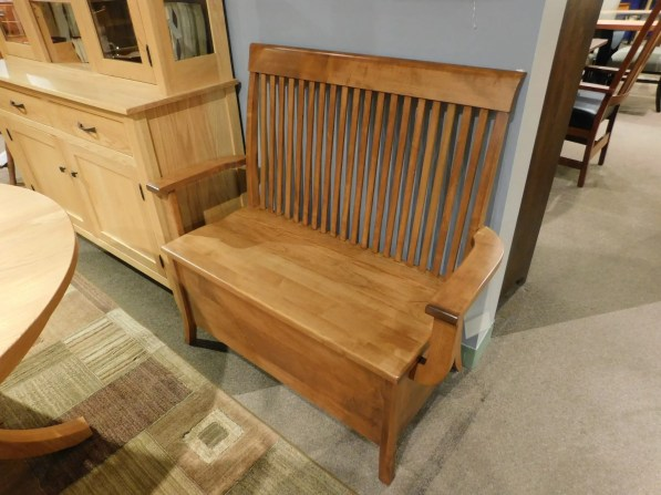 "Carlisle Storage Bench with Arms and Deep Storage Wood Species Shown: Brown Maple Dimensions: 38"" seat, 45""W x 18""D x 41.5""H Price As Shown*: $1050 Fully Customizable. *Price of piece not inclusive of current sales. Please see our Pricing page for more details."