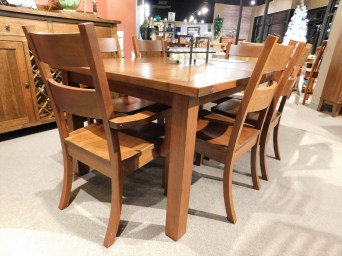 """Western Plank Top Table with 1 18"""" Leaf and 3"""" Mission Leg without Corbel Wood Species Shown: Rustic Cherry Dimensions: 42""""W x 84""""L (open) Fully Customizable. Shown with Western Chairs - still on floor. Please contact us for pricing details."""