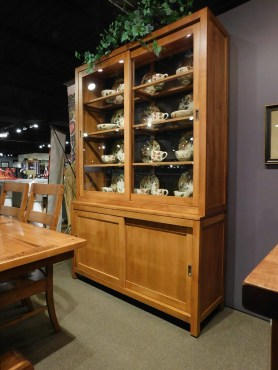 "Craftsman Dining Hutch with LED Lighting, Wood Framed Glass Shelves & Light Distressing Wood Species Shown: Brown Maple Dimensions: 59""W x 19""D x 89""H Price As Shown*: $4,088 Fully Customizable. *Price of piece not inclusive of current sales. Please see our Pricing page for more details."