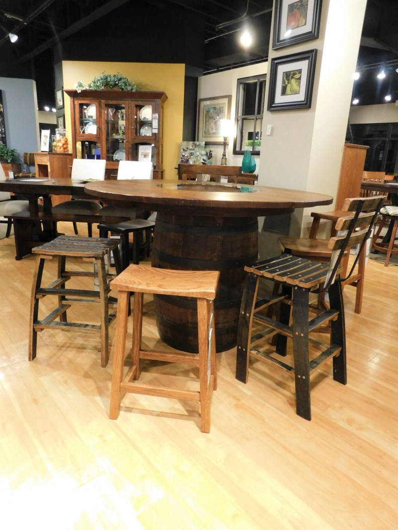 Round Jack Daniels Barrel Table Wood Species Shown: Rustic Quartersawn White Oak Special Features: Genuine Wine / Whiskey Barrel as Pedestal Partially Customizable. Please contact us for pricing details.