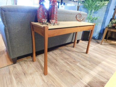 """Providence Sofa Table Wood Species Shown: Cherry / Maple Dimensions: 48""""W x 18""""D x 28.5""""H Price As Shown*: $578 Fully Customizable. *Price of piece not inclusive of current sales. Please see our Pricing page for more details."""