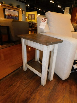 "Urbana Small Wedge Table, Roughsawn with Plank Top Wood Species Shown: Brown Maple Dimensions: 10""W front x 16""W rear x 22""D x 24.5""H Price As Shown*: $552 Fully Customizable. *Price of piece not inclusive of current sales. Please see our Pricing page for more details."