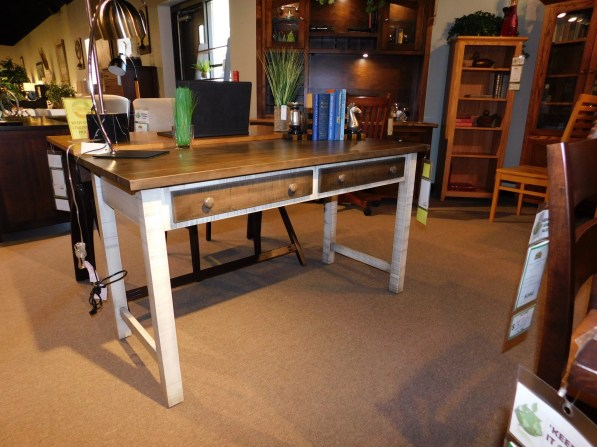 """Urbana Writing Desk, Roughsawn with Plank Top Wood Species Shown: Brown Maple / Rustic Cherry Dimensions: 24""""D x 52""""W x 29.5""""H Fully Customizable. Please contact us for pricing details."""