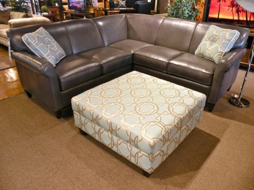 Leather Sectional and Square Ottoman Partially Customizable. Please contact us for pricing details.