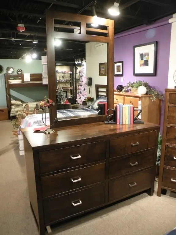 Highland Park Dresser and Mirror Wood Species Shown: Brown Maple Fully Customizable. Please contact us for pricing details.
