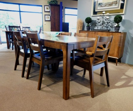 """Copenhagen Table with 2 12"""" Self-Storing Leaves Wood Species Shown: Brown Maple Dimensions: 42""""W x 96""""L (open) Fully Customizable. Shown with Sonora Chairs. Please contact us for pricing details."""