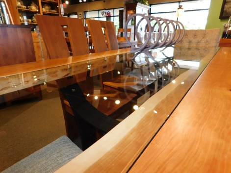 """Golden Gate Slab Top Table with Inset Glass & Metal Base & Clear Fill Wood Species Shown: Rustic Cherry Dimensions: 42""""W x 84""""L Fully Customizable. Shown with Alana and Delphi Chairs. Please contact us for pricing details."""