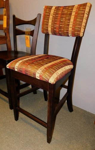 """Kingsley Side Bar Chair with Upholstered Back and Seat Wood Species Shown: Brown Maple Fabric Shown: #5-22 Eyepopper Dimensions: 24""""H Fully Customizable. Please contact us for pricing details."""