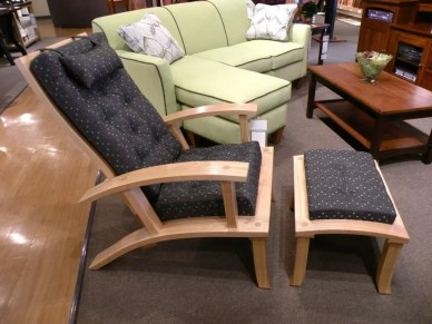 Stationary Reclining Chair with Ottoman Wood Species Shown: Oak Fully Customizable. Please contact us for pricing details.