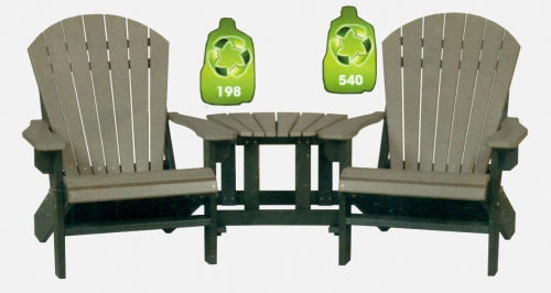 2 Foot Stationary Adirondack Chair #242 and Fusion Fan Table #2442