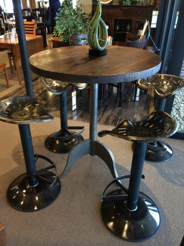 Tractor Seat Dining Table and Attached Stools
