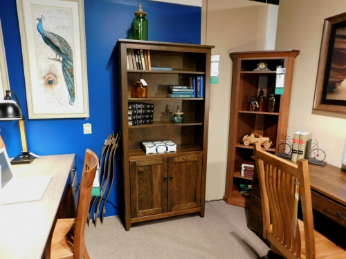 Modern Mission Bookcase with Wood Doors