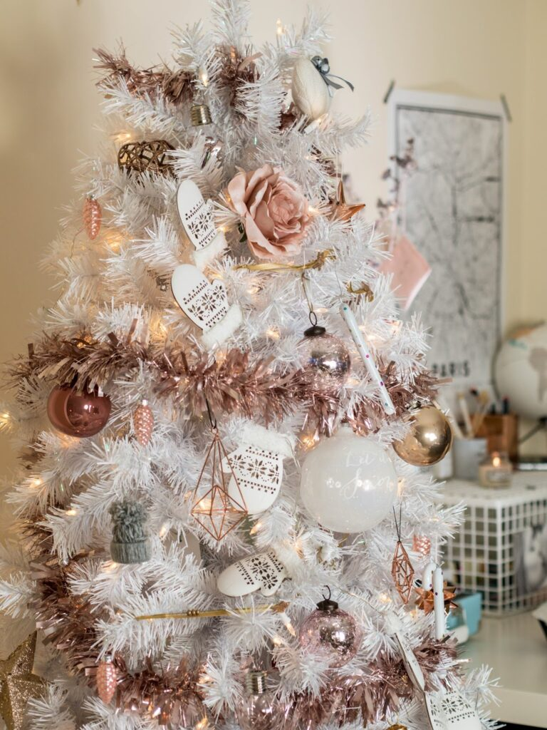 white christmas tree with stylish rose gold and pink decorations don t cramp my style white christmas tree with stylish rose
