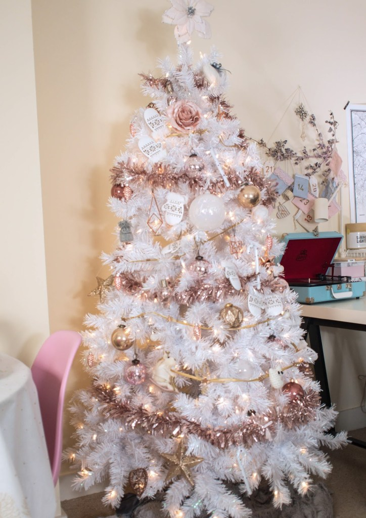White Christmas Tree with stylish rose gold and pink decorations. - Don't Cramp My Style