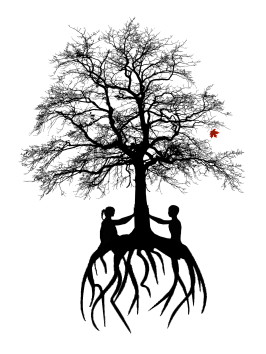 S/tick logo: a tree with deep roots held up by two women