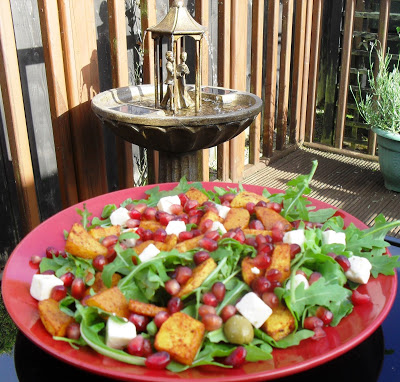 Juicy summer squash & pomegranate rainbow salad Dinner Grainfree Lunch snack