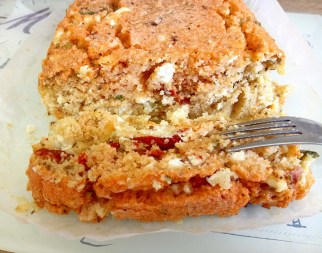 Sun dried tomato & feta flourless lentil loaf Lunch snack