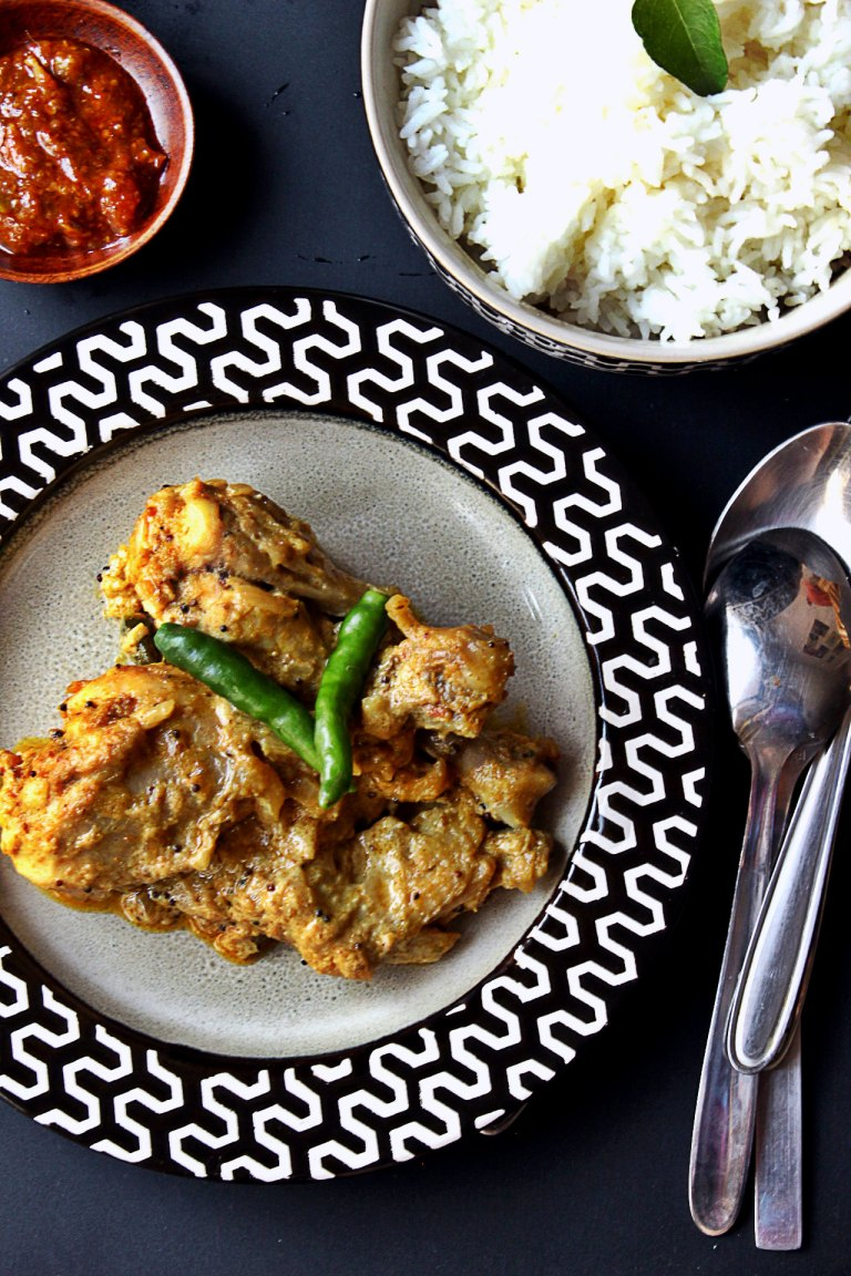 Indian Achari Chicken Curry made with Raw Mango Pickle or Aam Ka Achar