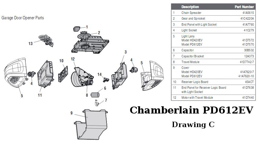 Chamberlain 1 3 Hp Garage Door Opener. Chamberlain CG40D 1