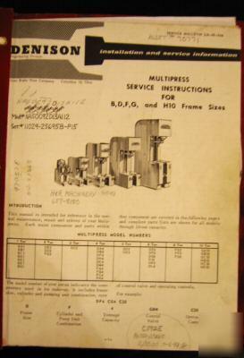 Denison multipress installation & service manual