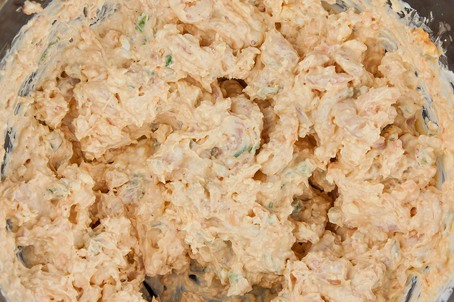 Easy Cold Shrimp Dip - all dip ingredients combined in a large glass bowl