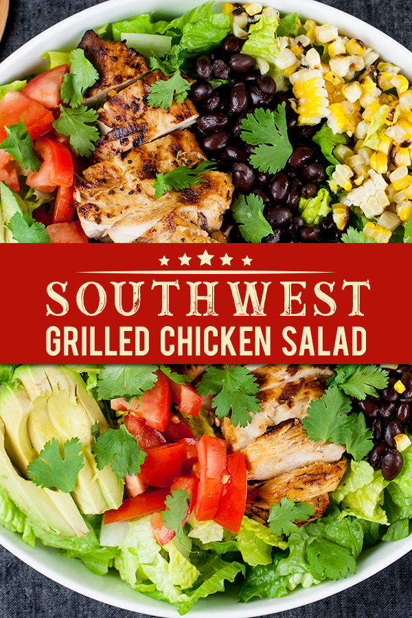 "Southwest Grilled Chicken Salad - A fresh, healthy flavorful salad. Chicken marinated in a smoky adobo flavored marinade gives it more than just a ""taco"" flavor. Grilling the corn and jalapenos adds extra smoky flavor to this dish. #mexican #salad #recipe #easyrecipe"