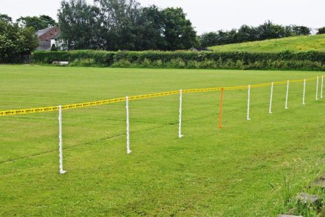 Barriers set up in field