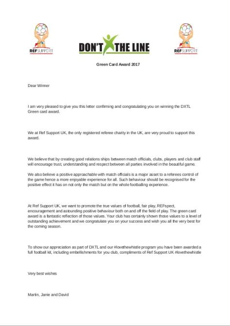 Congratulations Letter Produced For The Green Card Refspect Award