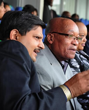 (Photo: The New Age Board Chairman Atul Gupta and President Jacob Zuma and the First Lady MaNtuli Zuma). President Jacob Zuma at  the Bidvest Wanderers Stadium for the T20  match between  South Africa and India. South Africa. 30/03/2012.