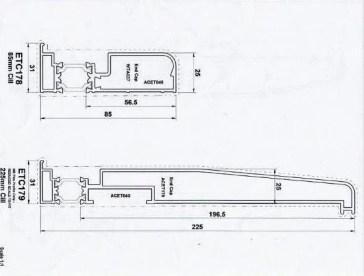 Diagram of Bi-Fold Standard 85 and 225 Sills