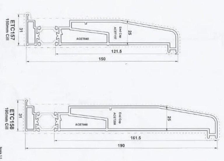 Diagram of Bi-Fold Standard 150 and 190 Sills