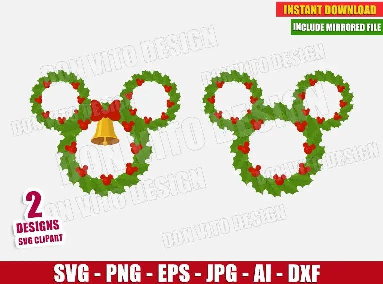 Christmas light mickey svg, christmas light svg cut table design,svg,dxf,png use with silhouette studio & cricut_instant download the cut files include one. Disney Christmas Wreath Svg Dxf Png Mickey Mouse Head Ears Cut File