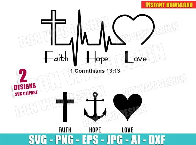 Download Faith Hope Love Heartbeat (SVG dxf png) Christian ...