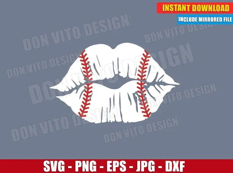 Download Distressed Baseball Love Lips Stitches (SVG dxf png ...